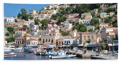 Yialos Harbour Symi Bath Towel