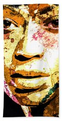 Hand Towel featuring the digital art Beyonce by Svelby Art
