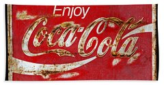 Coca Cola Vintage Rusty Sign Black Border Hand Towel by John Stephens