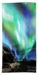 Hand Towel featuring the mixed media Dramatic Aurora by Atiketta Sangasaeng