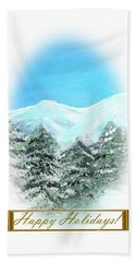 Happy Holidays. Best Christmas Gift Hand Towel by Oksana Semenchenko