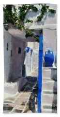Kastro Village In Sifnos Island Bath Towel