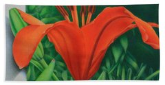 Hand Towel featuring the painting Orange Lily by Pamela Clements