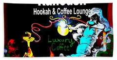 Ranoush Hookah And Coffee Lounge Bath Towel by Kelly Awad