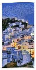 Serifos Town During Dusk Time Hand Towel