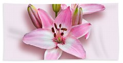 Spray Of Pink Lilies Bath Towel by Jane McIlroy