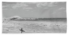 Surfer Standing On The Beach, North Hand Towel