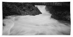 The Soteska Vintgar Gorge In Black And White Bath Towel