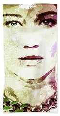 Hand Towel featuring the digital art Jennifer Lawrence by Svelby Art