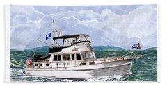 42 Foot Grand Banks Motoryacht Bath Towel by Jack Pumphrey