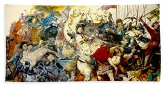 Hand Towel featuring the painting Battle Of Grunwald by Henryk Gorecki