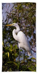 Great White Egret Bath Towel