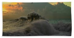 Waves In The Pacific Ocean At Dusk, San Bath Towel