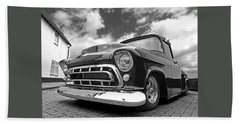 57 Stepside Chevy In Black And White Hand Towel