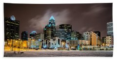Bath Towel featuring the photograph Charlotte Queen City Skyline Near Romare Bearden Park In Winter Snow by Alex Grichenko