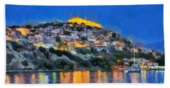 Molyvos Town In Lesvos Island Bath Towel