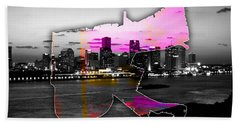 New Orleans Map And Skyline Watercolor Hand Towel by Marvin Blaine
