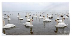 60 Swans A Swimming Hand Towel by Laurel Best