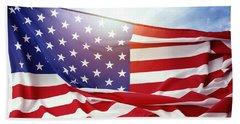 American Flag Bath Towel by Les Cunliffe
