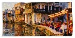 Little Venice In Mykonos Island Hand Towel