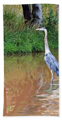 Blue Heron On The East Verde River Hand Towel