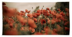 Red Poppy Flowers Hand Towel