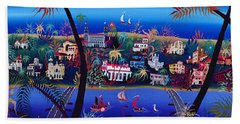 75th Anniversary Of Palm Beach, Florida Oil On Canvas Bath Towel