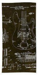 1961 Fender Bass Pickup Patent Art Bath Towel