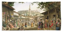 A Bazaar In Athens, Plate 1 From Part 1 Bath Towel