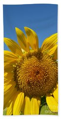 Bath Towel featuring the digital art A Beautiful Day In The Sunflower Neighborhood by Eva Kaufman