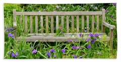 Hand Towel featuring the photograph A Bench For The Flowers by Gary Slawsky