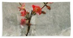 Hand Towel featuring the painting A Branch Of Japonica by Dragica  Micki Fortuna