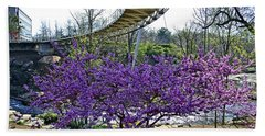 Hand Towel featuring the photograph A Bridge To Spring by Larry Bishop