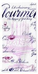A Calligraphy Illustration Celebrating Sixty Bath Towel