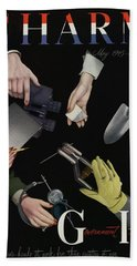 A Charm Cover Of Women's Hands Reaching For Tools Bath Towel