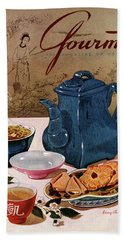 A Chinese Tea Pot With Tea And Cookies Hand Towel