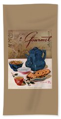 A Chinese Tea Pot With Tea And Cookies Bath Towel