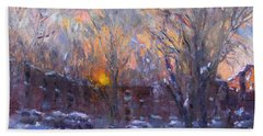 A Cold Winter Sunset  Hand Towel