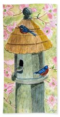 Bath Towel featuring the painting A Cottage For Two by Angela Davies