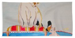 Bath Towel featuring the painting A Cup Of Chihuahua by Phyllis Kaltenbach
