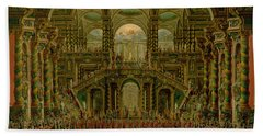 A Dance In A Baroque Rococo Palace Oil On Canvas Bath Towel