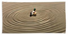 Hand Towel featuring the photograph A Duck Making Waves by Gary Slawsky