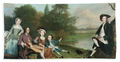 A Family Of Anglers, 1749 Oil On Canvas Bath Towel