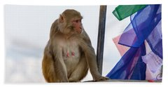 A Female Macaque On Top Of Wall Bath Towel