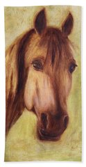 Hand Towel featuring the painting A Fine Horse by Xueling Zou