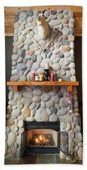 A Fireplace In A Mountain Cabin Bath Towel