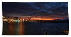 a flaming sunset at Tel Aviv port Hand Towel