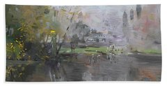 A Foggy Fall Day By The Pond  Hand Towel