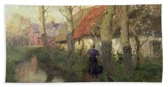 A French River Landscape With A Woman By Cottages Hand Towel