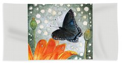 Hand Towel featuring the painting A Garden Visitor by Angela Davies